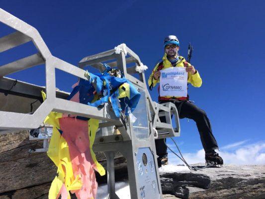 alpinist pe dufourspitze, elveția